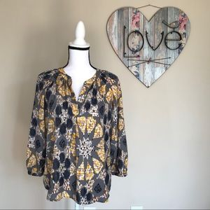 Collective Concepts Top Geometric Print Blouse M